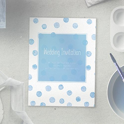 水彩ドットブルー 招待状のサムネイル